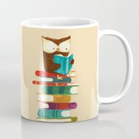 reading Mugs featuring Owl Reading Rainbow by Picomodi