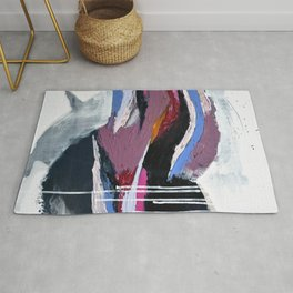 Ebb and Flow:  vibrant, minimal abstract piece in various colors by Alyssa Hamilton Art Rug