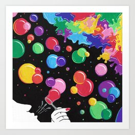 Bubbles colors the World !  Art Print