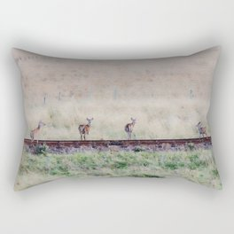 Little deers on a railway - Watercolor painting Rectangular Pillow