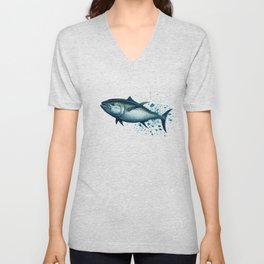 Bluefin Tuna ~ Watercolor Painting by Amber Marine,(Copyright 2016) Unisex V-Neck