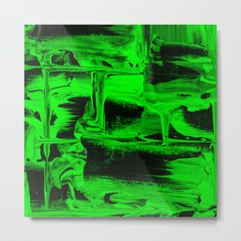 Green Abstract Art Squares Metal Print