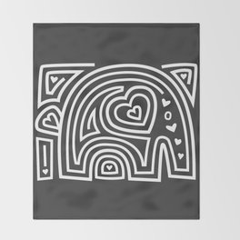 Mola Elephant (Black and White) Throw Blanket