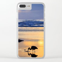 A Great Blue Heron Feeding at Sunset Clear iPhone Case