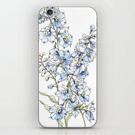Blue Delphinium Flowers iPhone Skin