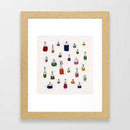 Coloured bottles Framed Art Print