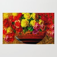 roses Area & Throw Rugs featuring Roses  by Saundra Myles