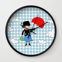 mary poppins Wall Clocks featuring Mary Poppins by EnelBosqueEncantado