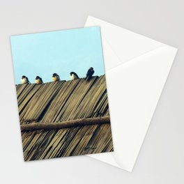 Swallows Flock, Birds Perching Thatched Roof Stationery Cards