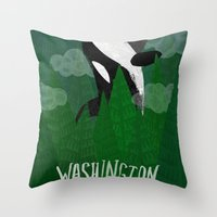 washington Throw Pillows featuring Washington by Santiago Uceda