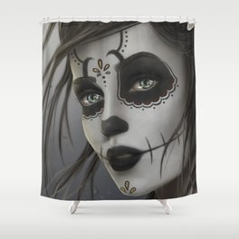 Amazing Ghastly Female Day Of The Dead Make Up UHD Shower Curtain