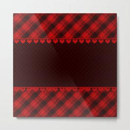 Red brown plaid, plaid blanket, red and brown pattern, patchwork, folklore, rustic style, elegant pa Metal Print