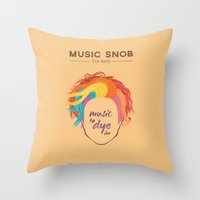 paramore Throw Pillows featuring MORE Music to DYE for — Music Snob Tip #075.5 by Elizabeth Owens