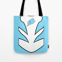 power ranger Tote Bags featuring Cyan Spirit Ranger by JoSumdac