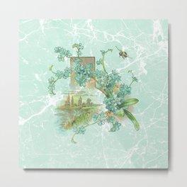 Modern vintage mint marble floral landscape Metal Print