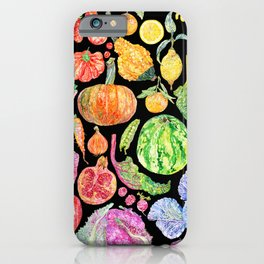 Rainbow of Fruits and Vegetables Dark iPhone Case