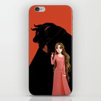 beauty and the beast iPhone & iPod Skins featuring Beauty and the Beast by Courtney Godbey