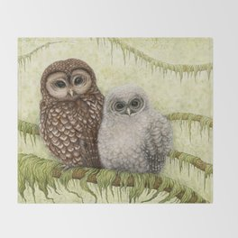 Northern Spotted Owls Throw Blanket