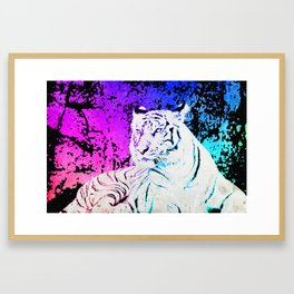 White Tiger Under the Sunset Night Sky Framed Art Print