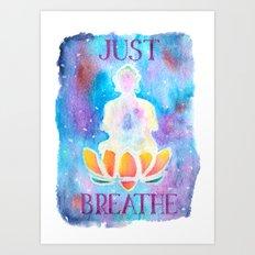 Just Breathe - Hippy Boho Buddha Watercolor Art Print