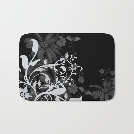 Wonderful floral design with birds Bath Mat