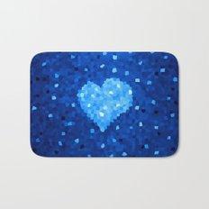 Winter Blue Crystallized Abstract Heart Bath Mat