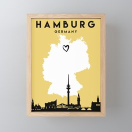 HAMBURG GERMANY LOVE CITY SILHOUETTE SKYLINE ART Framed Mini Art Print