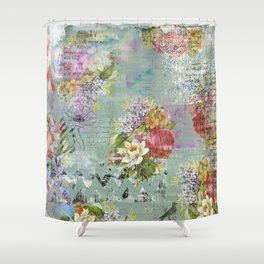 Grunged Florals on Green Shower Curtain