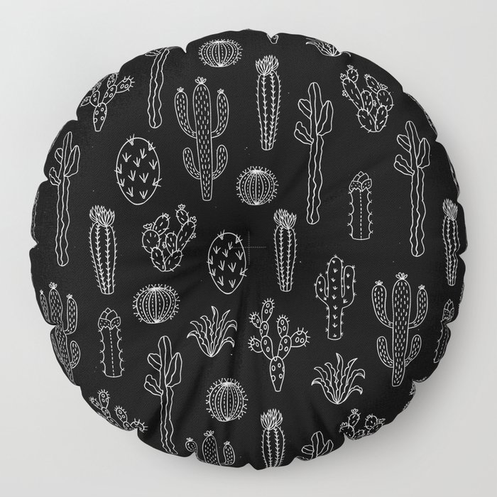 Cactus Silhouette White And Black Floor Pillow