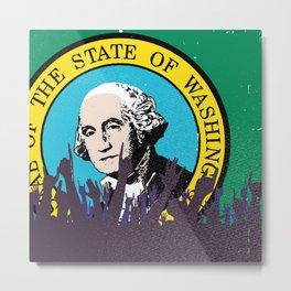 Washington State Flag with Audience Metal Print