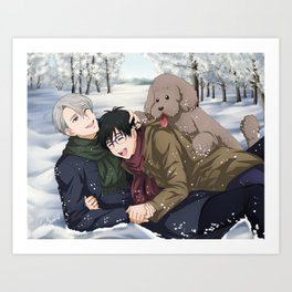 YOI Family Playing in the Snow Art Print