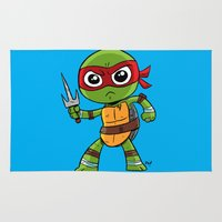 tmnt Area & Throw Rugs featuring TMNT Raphael by thechrishaley