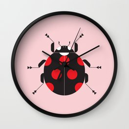 Ladybug Pink Wall Clock
