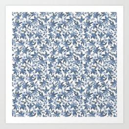 Blue Watercolor Flowers Art Print