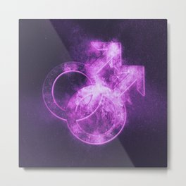 Male homosexuality symbol. Gay glyph. Doubled male sign. Abstract night sky background Metal Print