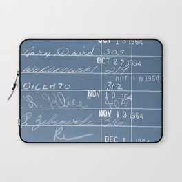 Library Card 23322 Negative Blue Laptop Sleeve