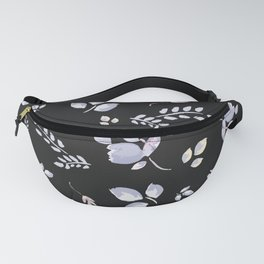 Spring watercolor leaves & tulips on charcoal background Fanny Pack