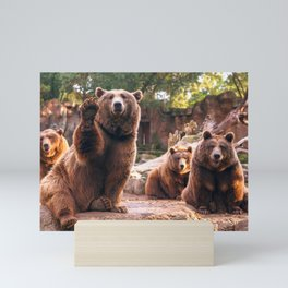 Spectecular Group Gracious Grizzly Bears Sitting In Habitat Waving At Camera Ultra HD Mini Art Print