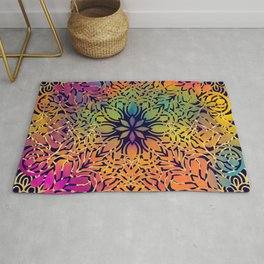 Bohemian 1960's Mandala Pattern of Freedom Rug