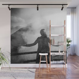 Ghost of Owakudani Mountain in Japan - Black & White Photography Wall Mural