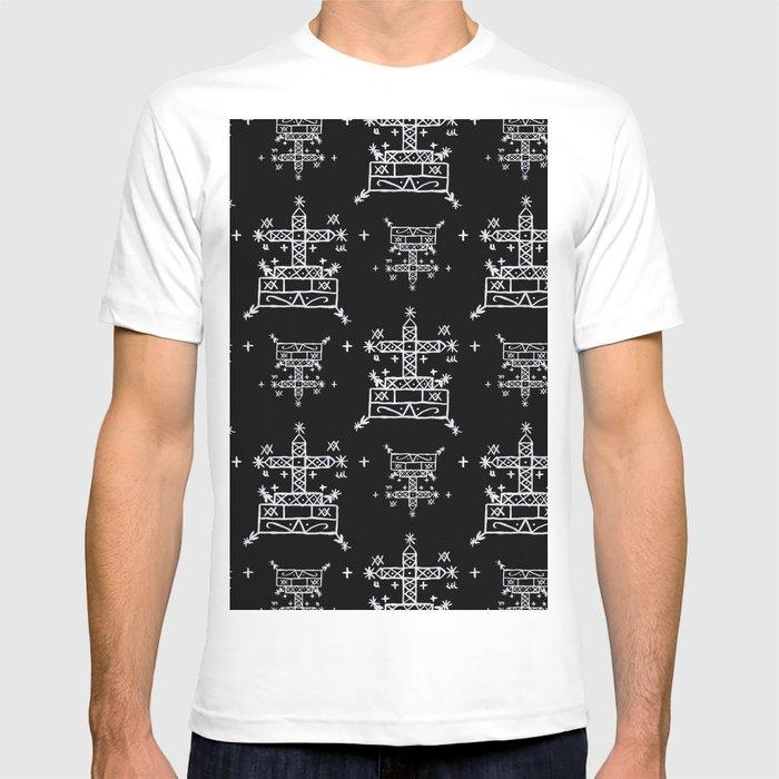 8a6dcd68269 Baron Samedi Voodoo Veve Symbols in Black T-shirt by elliottdesignfactory