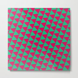 Green and pink triangle graphic Metal Print