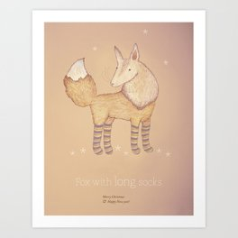 Christmas creatures- Fox with long socks Art Print