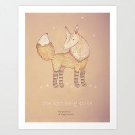 Christmas creatures- Fox with long socks Art Print