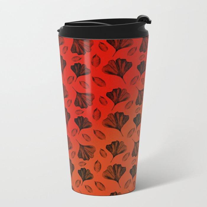 Ginkgo Pattern on Stripe Gradient Metal Travel Mug