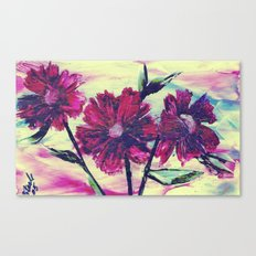 Red encaustic flowers Canvas Print