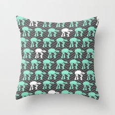 Mint White AT-AT's Over Chevrons Throw Pillow
