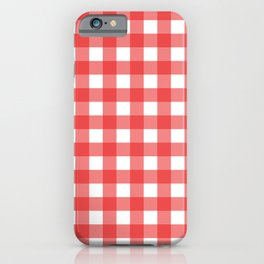 Red white gingham iPhone Case