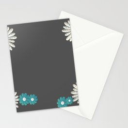 Gray,blue flowers Stationery Cards