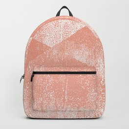 Coral and White Geometric Ink Texture Backpack